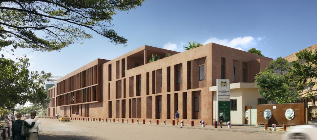 Image 3D de la vue de face du bâtiment Sèmè One